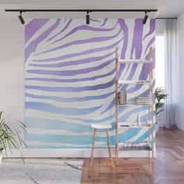 Zebra Pattern - Purple & Turquoise Gradient Wall Mural