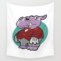hippo Wall Tapestries featuring Hippo Butler by Scott Davidson