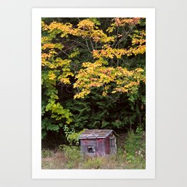 Little Red Shack in Mountains in Autumn Art Print