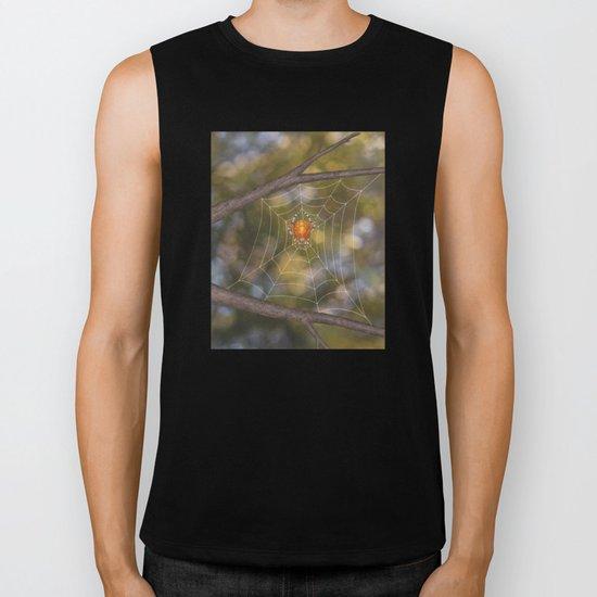 marbled orb weaver on a web Biker Tank