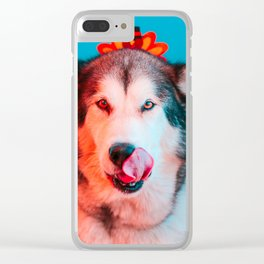 Ready for Turkey! Hungry Puppy at Thanksgiving Clear iPhone Case