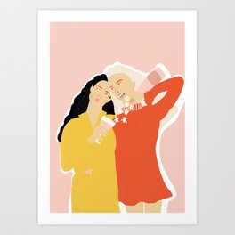 Best Friends and Wine Art Print