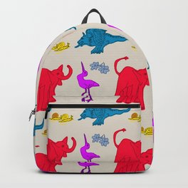 Elephant Print on Neutral Background Backpack