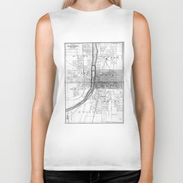 Vintage Map of Grand Rapids Michigan (1873) BW Biker Tank