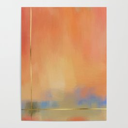 Abstract Landscape With Golden Lines Painting Poster