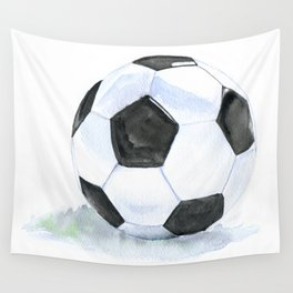Soccer Ball Watercolor Wall Tapestry