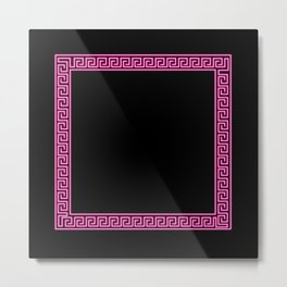 Pink Greek Border Metal Print
