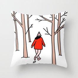 Girl Walking Through the Woods Throw Pillow