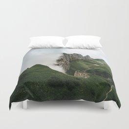 Foggy mountain ridge in Switzerland - Landscape Photography Duvet Cover
