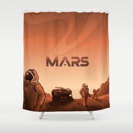 Mars Illustration Shower Curtain