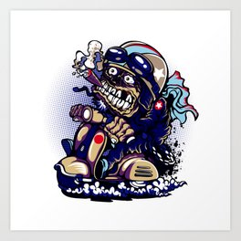 Smoke Skull Driver Moped - Navy Art Print