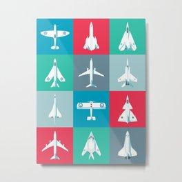 Classic Iconic Aircraft Pattern Metal Print