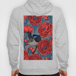 Peonies and wrens Hoody
