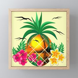 Pineapple Tropical Sunset, Palm Tree and Flowers Framed Mini Art Print
