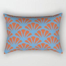 Turquoise and Orange Deco Fan Rectangular Pillow