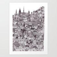 prague Art Prints featuring Prague by Justine Lecouffe