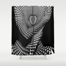 0622-JAL Heart Shape Pattern on Breasts and Nude Body Abstracted by Optical Patten Shower Curtain
