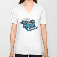 laptop V-neck T-shirts featuring The Composition. by Matt Leyen