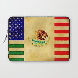 MEXICAN AMERICAN FLAG - 017 Laptop Sleeve