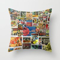 movie posters Throw Pillows featuring Vintage Sci-Fi Movie Posters  |  Collage by Silvio Ledbetter