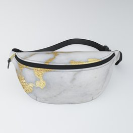 White and Gray Marble and Gold Metal foil Glitter Effect Fanny Pack