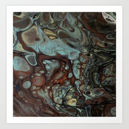 Earth tones abstract fluid art by Sharon Perry Art Print