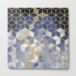 Shades Of Velvet Purple Blue Cubes Pattern Metal Print