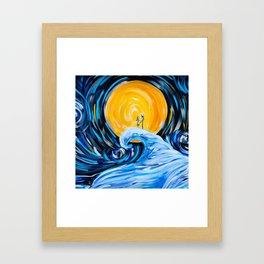 Starry Spiral Hill Night Painting Framed Art Print
