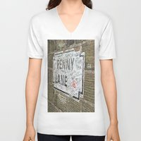 liverpool V-neck T-shirts featuring Liverpool Street Sign by Jonah Anderson
