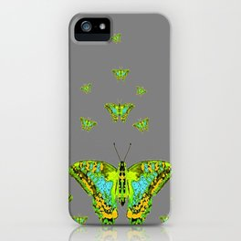 BLUE-GREEN-YELLOW PATTERNED MOTHS ON GREY iPhone Case