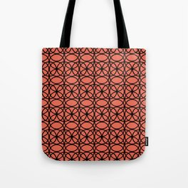 Pantone Living Coral and Black Rings, Circle Heaven 2, Overlapping Ring Design Tote Bag