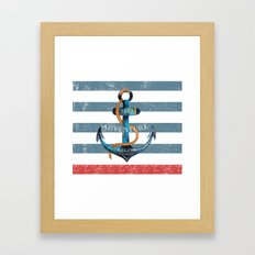 Maritime Design- Nautic Anchor on stripes in blue and red Framed Art Print