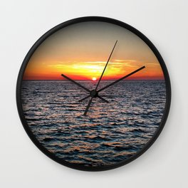 summer sunset at peroj beach croatia istria Wall Clock