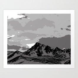 Chugach Mountains - B & W Pop Art Art Print