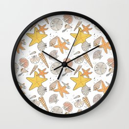 The Ocean is Calling | Sea Shells Sand Dollars Star Fish Wall Clock