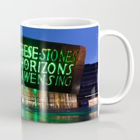 roald dahl Mugs featuring Wales Millennium Centre by PICSL8