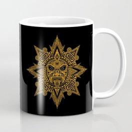 Ancient Yellow and Black Aztec Sun Mask Coffee Mug