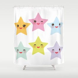 Kawaii stars, face with eyes, pink green blue purple yellow Shower Curtain