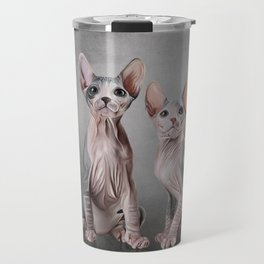 Drawing two cats Sphynx, hairless Travel Mug