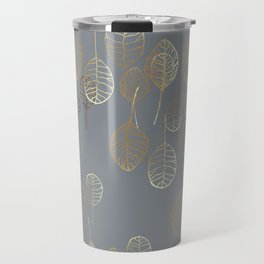 Golden Leaves - Gray Travel Mug