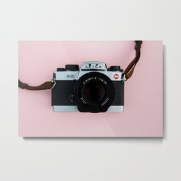 Camera on Blush Pink Background Metal Print
