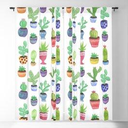 Watercolor Cactus + Succulents Blackout Curtain