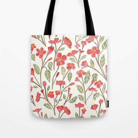Red Botanical Pattern Tote Bag