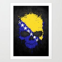 Flag of Bosnia - Herzegovina on a Chaotic Splatter Skull Art Print