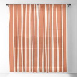 Vertical irregular stripes on orange Sheer Curtain