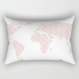 World Map Pink Rose Gold Hearts Love Rectangular Pillow