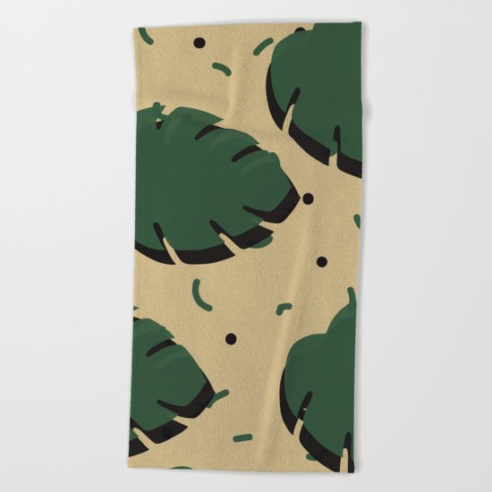 Monstera leaf 1 Beach Towel