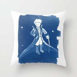 Little Prince Cyanotype Throw Pillow