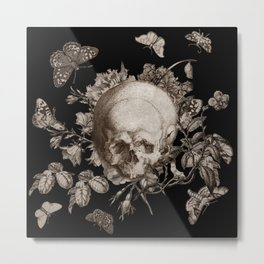 BLACK GOTHIC FLORAL SKULL Illustration Metal Print