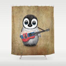 Baby Penguin Playing Slovakian Flag Guitar Shower Curtain